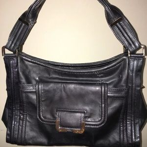 Kooba handbag pewter patten leather gold buckle